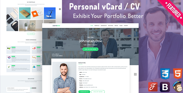 WP-Card | Personal vCard & CV Resume Template