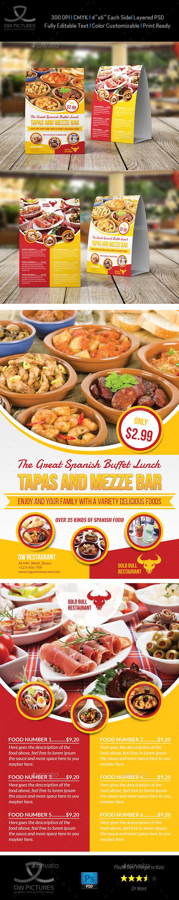 Restaurant Table Tent Template Vol.16 - Food Menus Print Templates