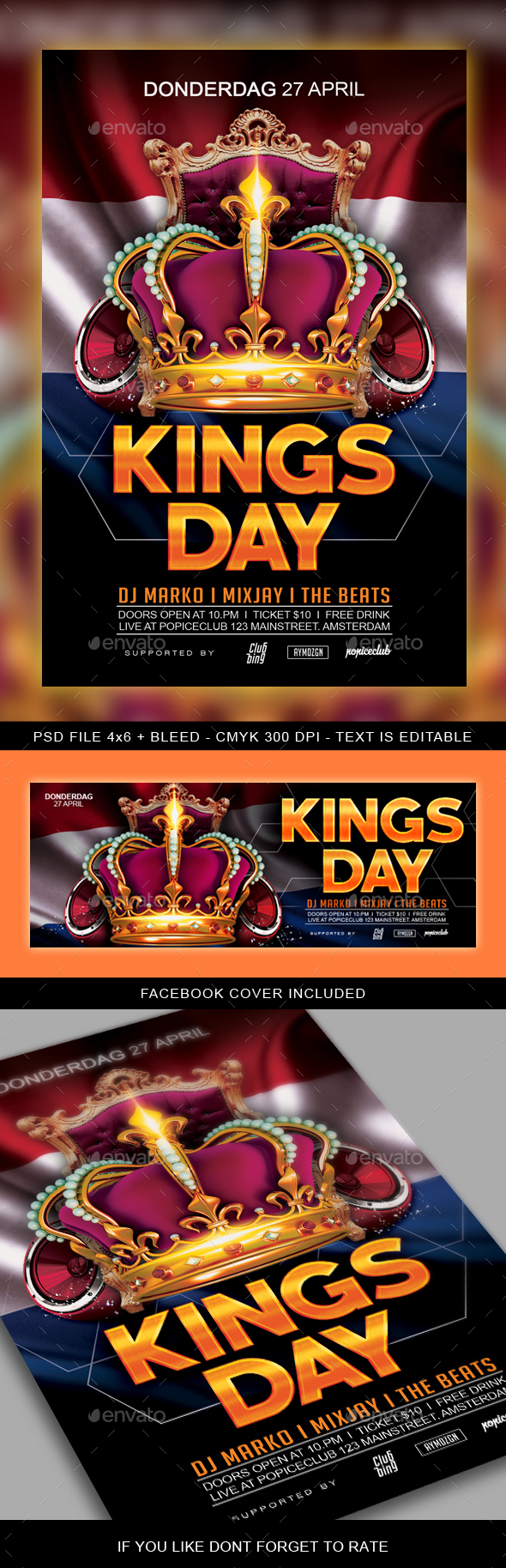 King's Day / Koningsdag Party Flyer - Clubs & Parties Events