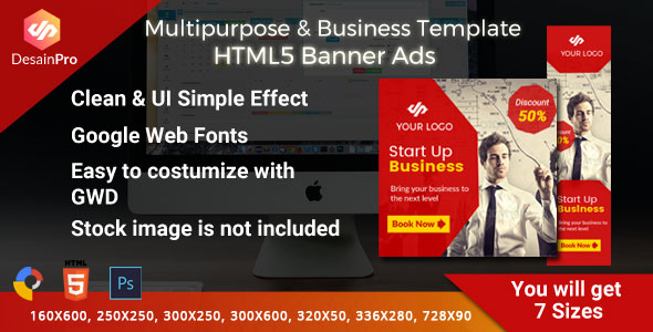 Multipurpose Business Ad Template - GWD - 7 Sizes - CodeCanyon Item for Sale