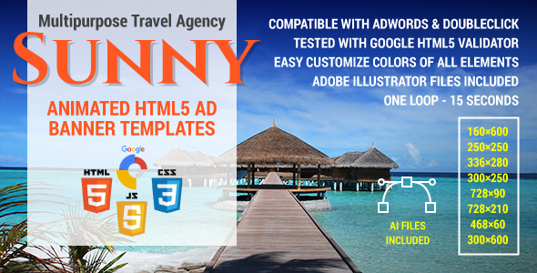 Sunny - Multipurpose Travel Agency HTML5 Ad Banner Templates - CodeCanyon Item for Sale