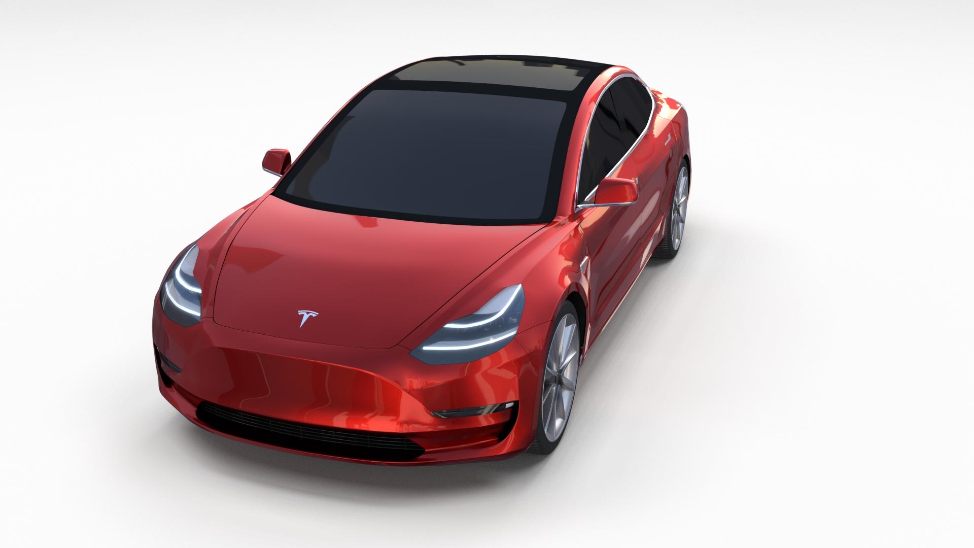 Tesla Model 3 Red by dragosburian | 3DOcean