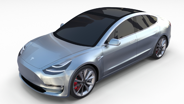 Tesla Model 3 Silver - 3DOcean Item for Sale