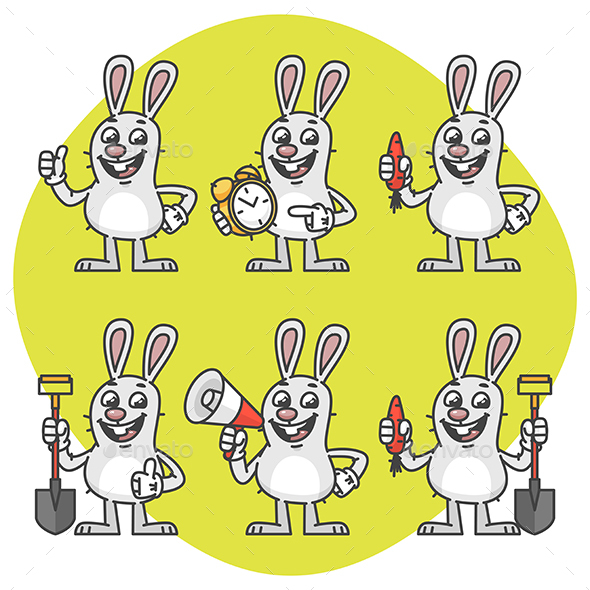 Rabbit Holds Various Items Mascot Pack Part 1 - Animals Characters