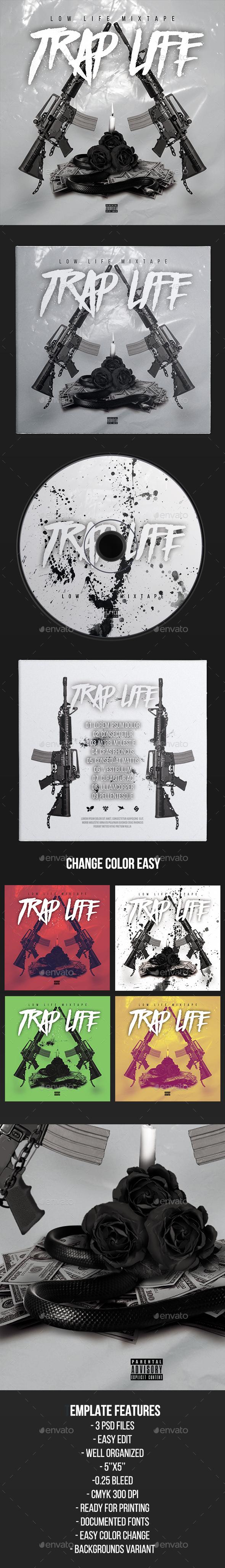 Trap Life - CD Cover Artwork Template - CD & DVD Artwork Print Templates