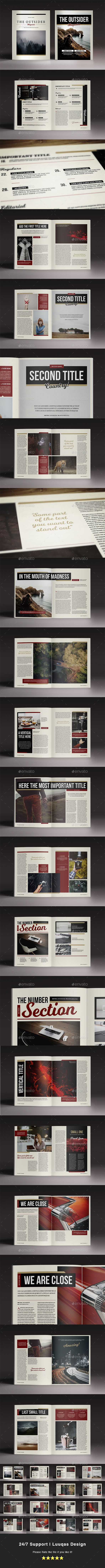 The Outsider Indesign Magazine Template - Magazines Print Templates