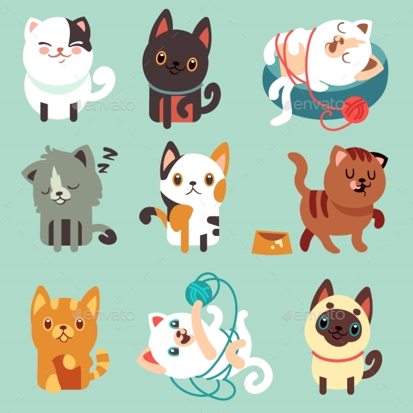Cartoon Cats, Funny Playful Kittens Vector - Animals Characters