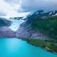Svartisen Glacier in Norway Aerial View.