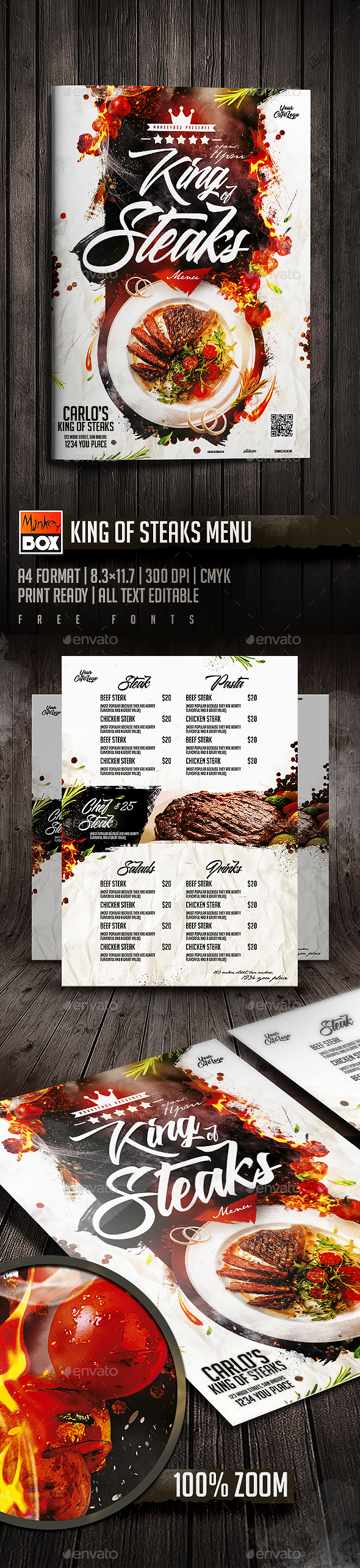 King Of Steaks Menu - Restaurant Flyers