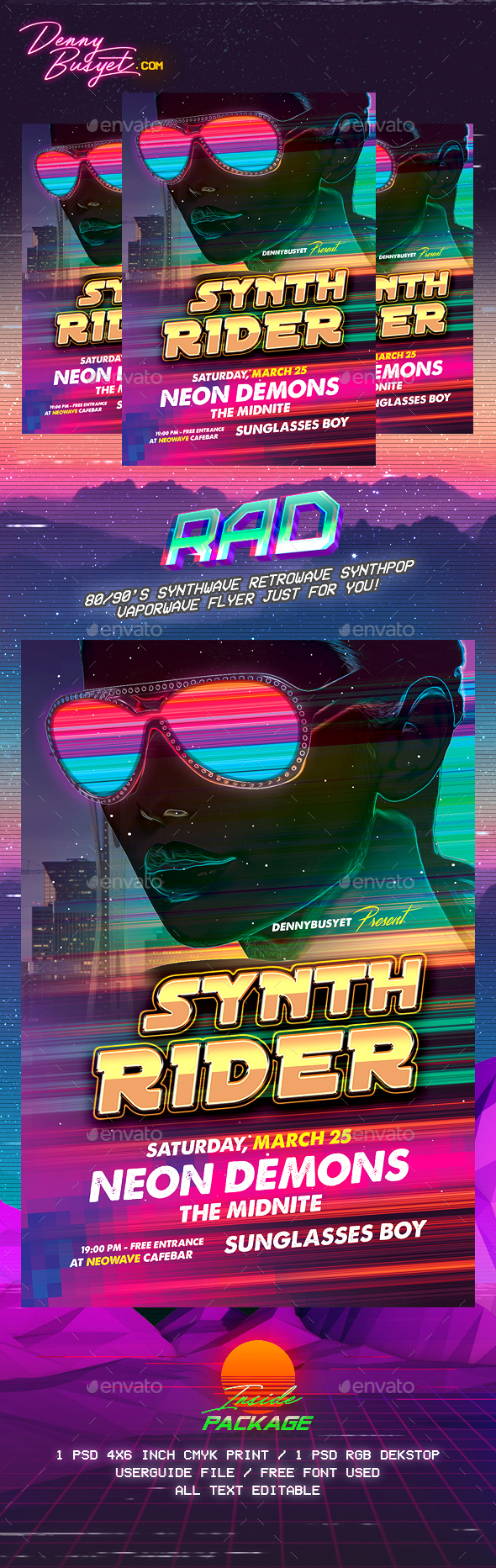 Synth Rider Synthwave Flyer Template - Events Flyers
