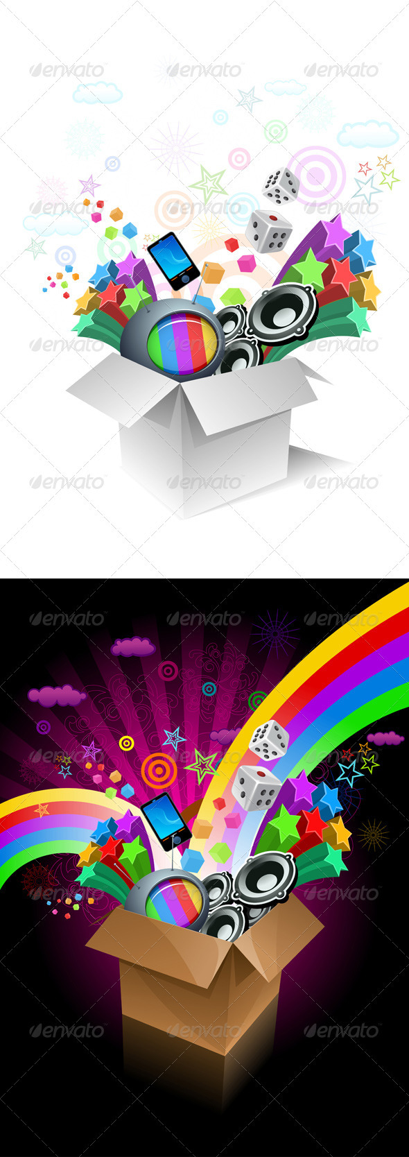 Exploding Gift Box - Objects Vectors