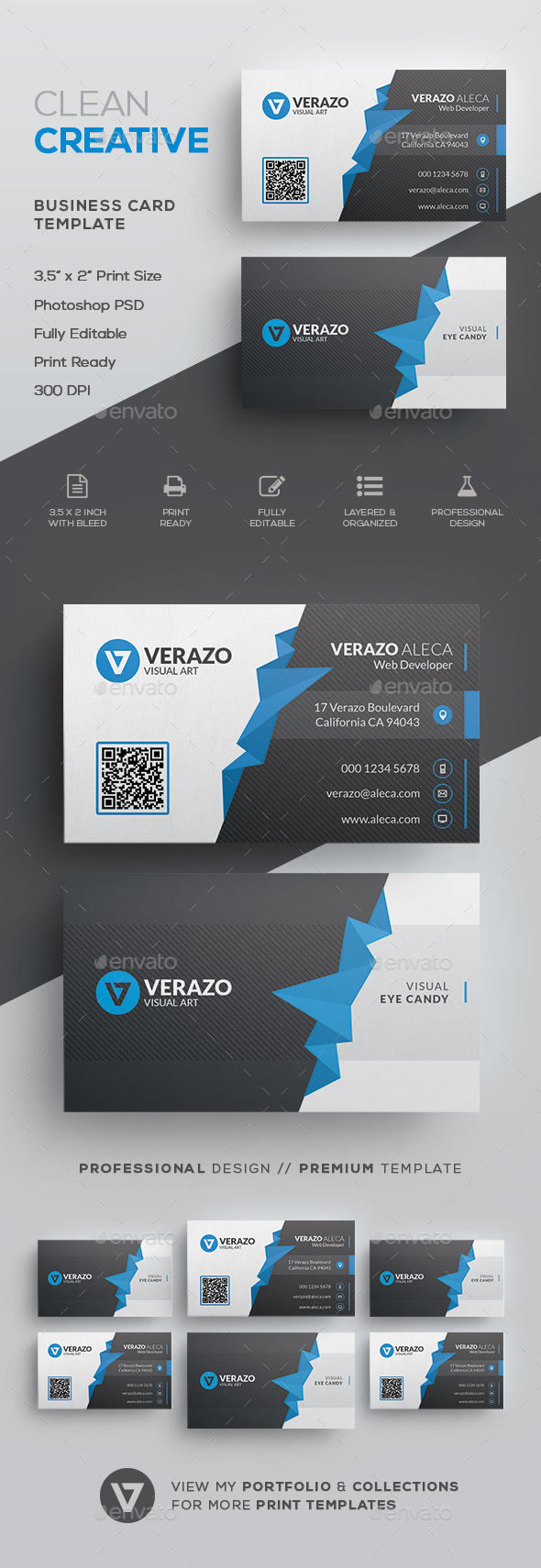 Clean Polygon Business Card Template - Corporate Business Cards