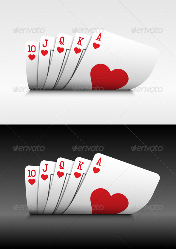 Royal Flush poker cards on white. - Objects Vectors
