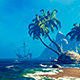 Desert Island And Lonely Ship - VideoHive Item for Sale