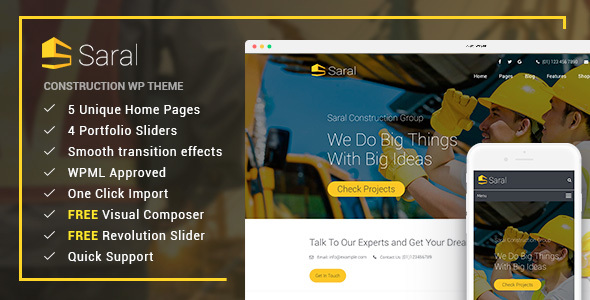 Saral – Construction WordPress Theme