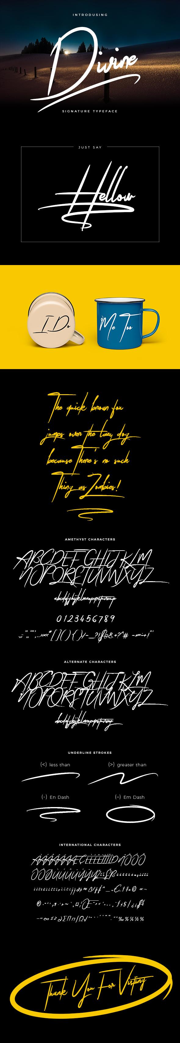 Divine Signature Brush Font - Calligraphy Script
