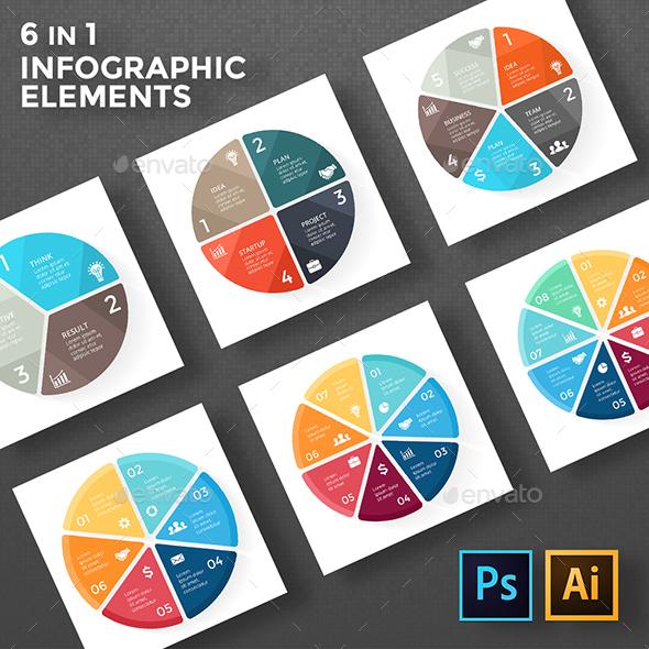 Circle Geometric Diagrams. PSD, EPS, AI. - Infographics
