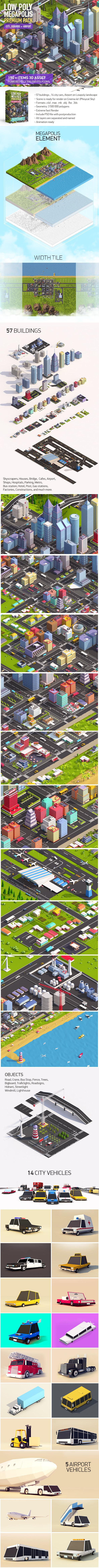 Low Poly Megapolis Premium Pack (Landscape, Buildings, Airport) - 3DOcean Item for Sale