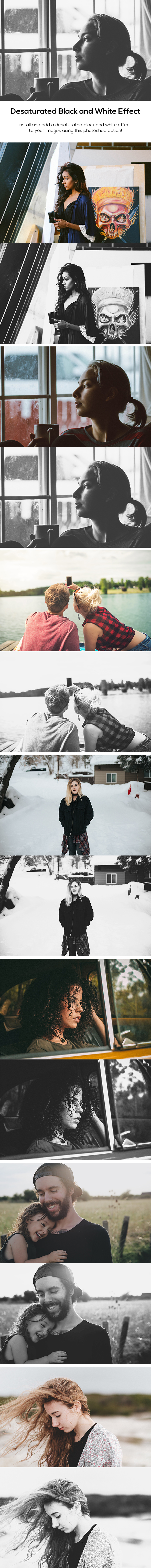 Desaturated Black and White Effect - Photo Effects Actions