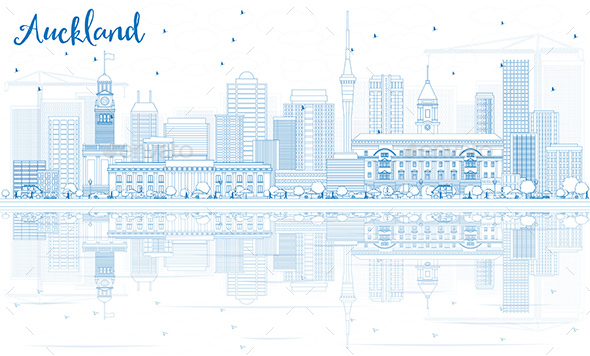 Outline Auckland Skyline with Blue Buildings and Reflections. - Buildings Objects