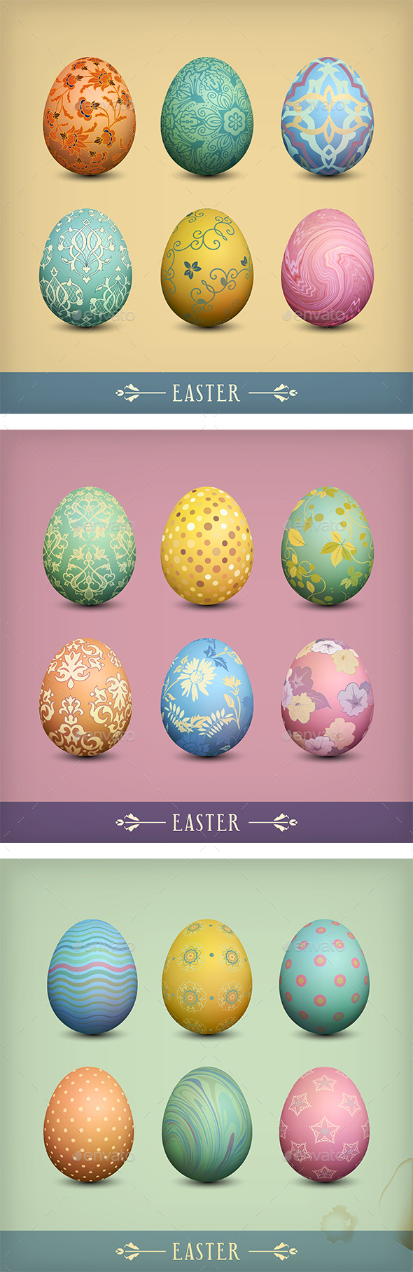 Set of Vintage Easter Eggs - Seasons/Holidays Conceptual