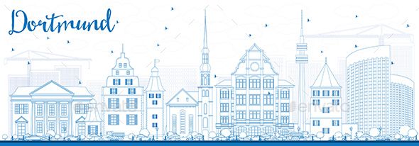 Outline Dortmund Skyline with Blue Buildings. - Buildings Objects