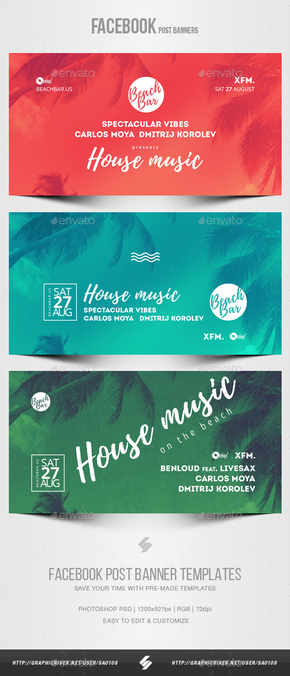 Electronic Music Party vol.18 - Facebook Post Banner Templates - Social Media Web Elements