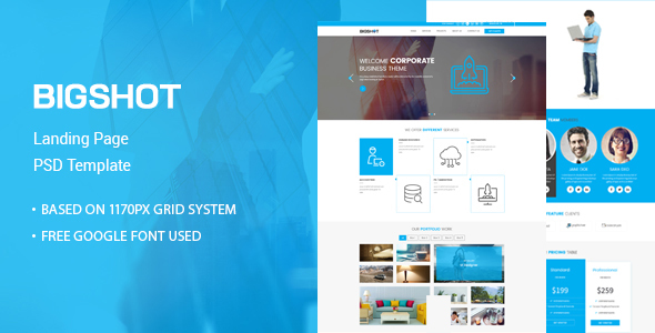 BigShot – One Page Creative PSD Template