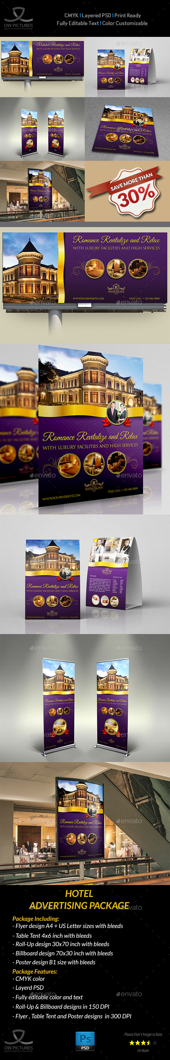Hotel Advertising Bundle - Signage Print Templates
