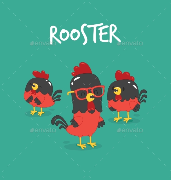 GraphicRiver Cute Cartoon Rooster Vector Illustration Clipart 19669562