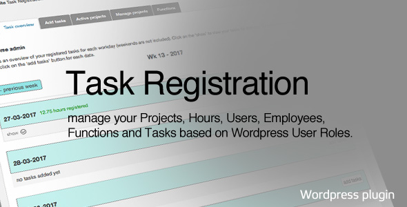 Task Registration for Wordpress - CodeCanyon Item for Sale