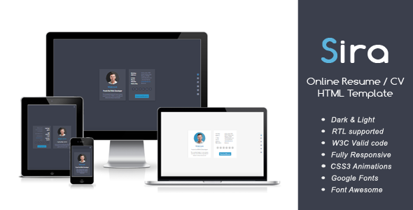Image of Sira - Online Resume / CV HTML Template