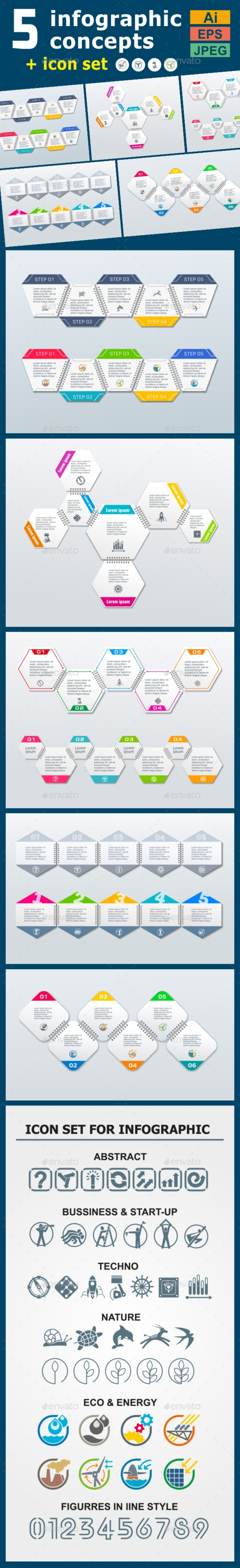 Infographic Templates in Paper Style. v.04 - Infographics