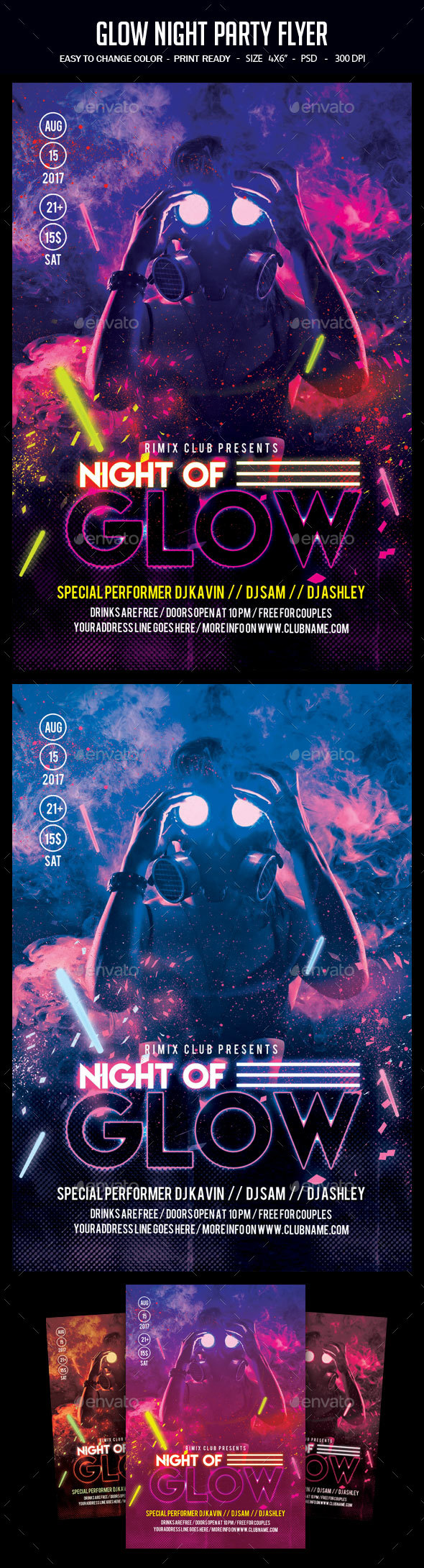 Glow Night Party Flyer - Clubs & Parties Events