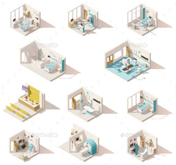 Vector Isometric Low Poly Hospital Rooms - Health/Medicine Conceptual