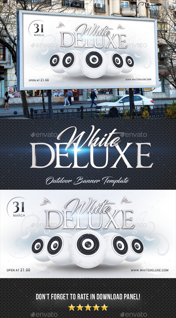 White Deluxe Outdoor Banner Template - Signage Print Templates