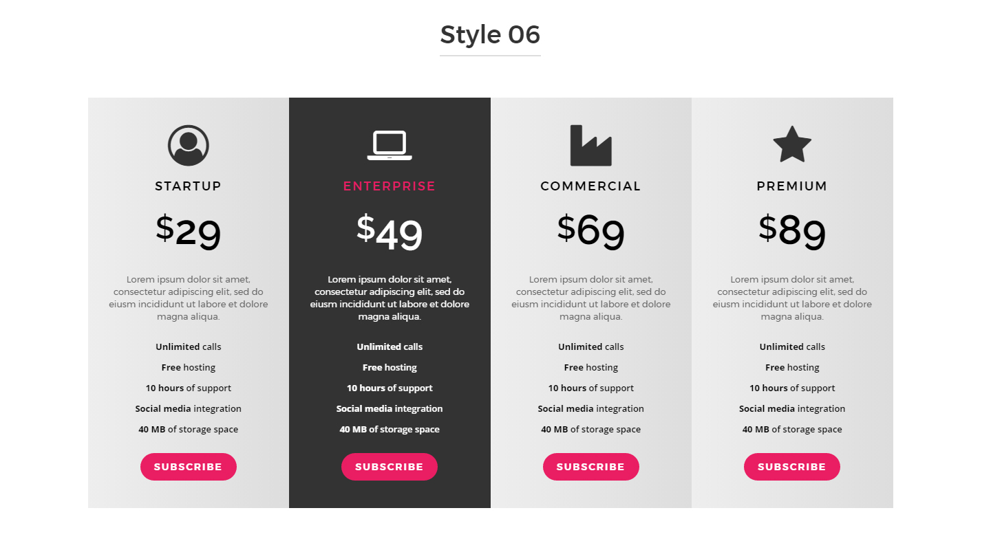 Responsive Bootstrap Pricing Table By Abeymac Codecanyon