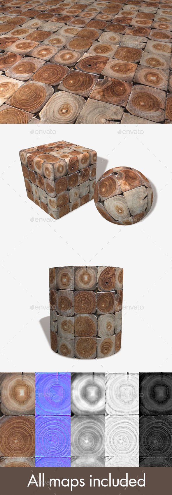 Decorative Wooden Tiles Seamless Texture - 3DOcean Item for Sale