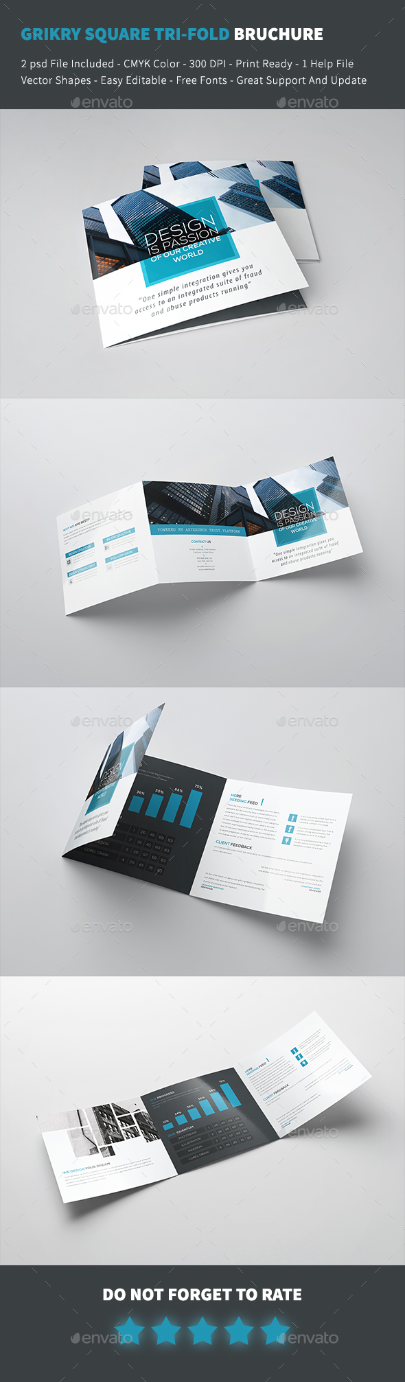 Grykry Square Tri-fold Brochure Template - Corporate Brochures