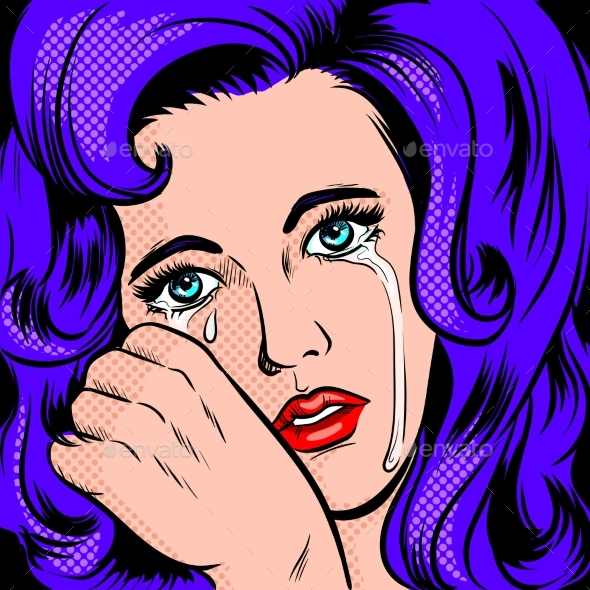 Sad Girl Crying Pop Art Style - People Characters