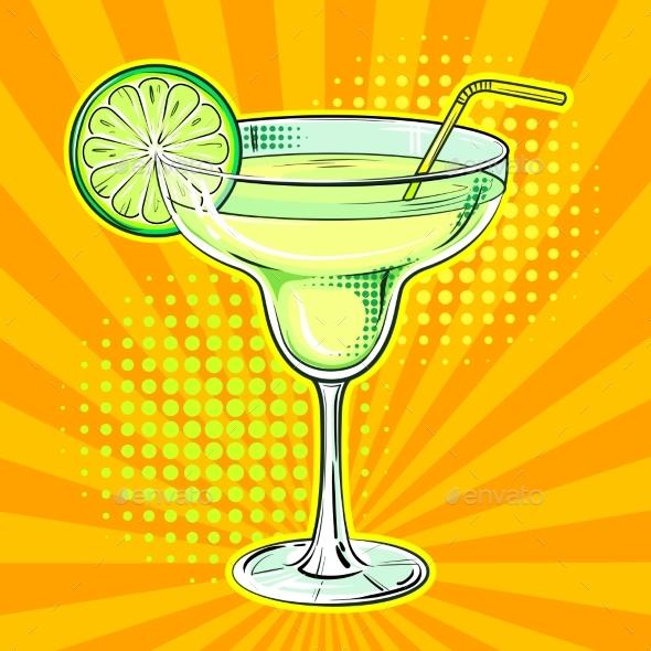 Liquor Alcohol Cocktail Pop Art Vector - Food Objects