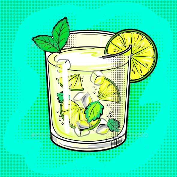 Mojito Cocktail Pop Art Vector Illustration - Food Objects
