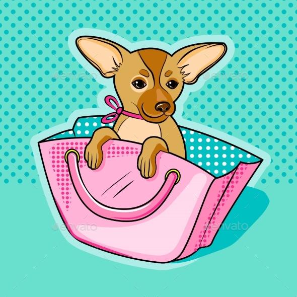 Chihuahua Dog in Pink Woman Handbag - Animals Characters