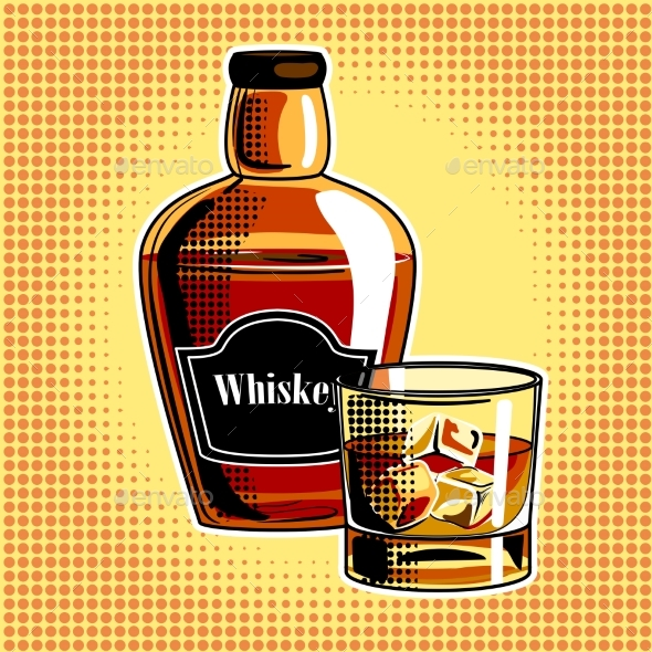 Whiskey Alcohol Drink Pop Art - Food Objects