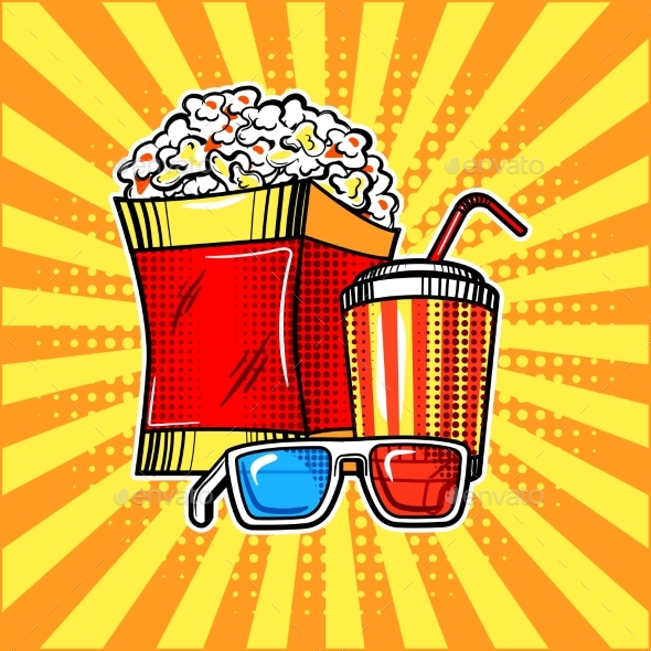 Popcorn Drink and Colorful Cinema Glasses - Food Objects