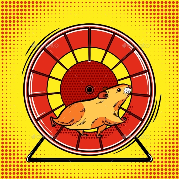Hamster in the Wheel Pop Art Vector Illustration - Animals Characters