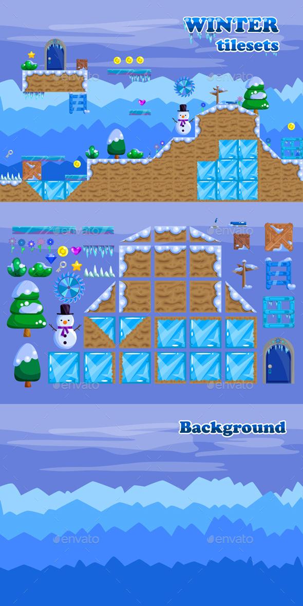 Platformer Tileset for Winter 2D Game - Tilesets Game Assets