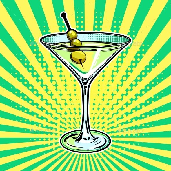Liquor Alcohol Cocktail Pop Art Vector - Food Objects