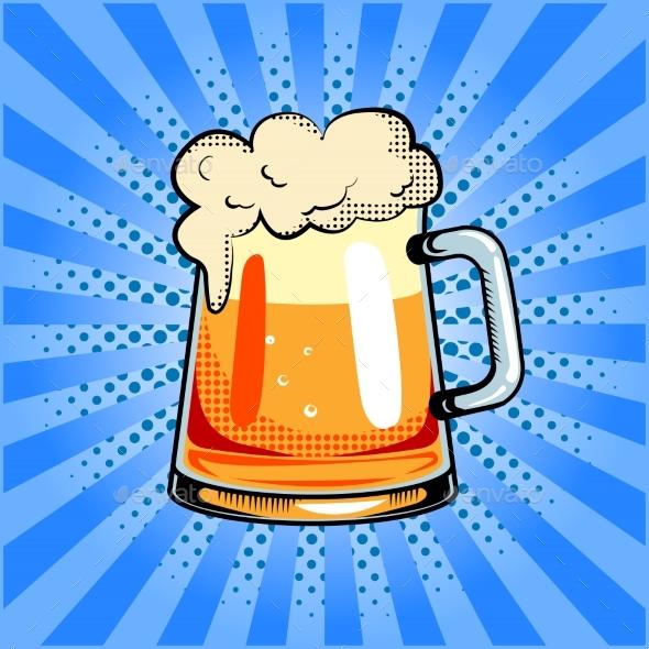 Mug of Beer Pop Art Vector Illustration - Food Objects