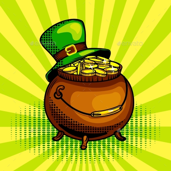 Pot of Gold Pop Art Vector Illustration - Miscellaneous Vectors